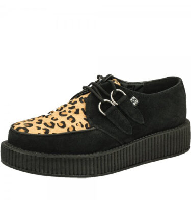 T.U.K. SHOES BLACK SUEDE WITH LEOPARD VAMP VIVA LOW SOLE CREEPER