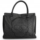 BOLSO LOUNGEFLY BLACK LATTICE SUGAR SKULL DAY OF THE DEAD