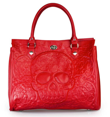 BOLSO LOUNGEFLY RED LATTICE SUGAR SKULL DAY OF THE DEAD