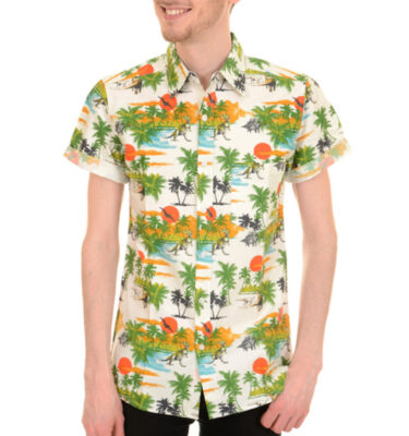 CAMISA RUN & FLY DE MANGA CORTA ESTAMPADO DINOSAUR SUNSET BEACH HAWAIIAN