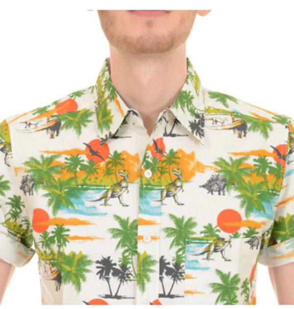 CAMISA RUN & FLY DE MANGA CORTA ESTAMPADO DINOSAUR SUNSET BEACH HAWAIIAN. De manga corta con impresionante estampado espacial en tonos azulados