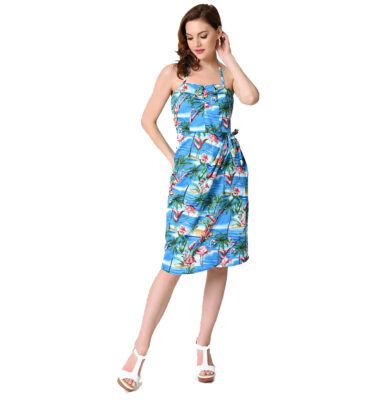 VESTIDO UNIQUE VINTAGE FLAMINGO TROPICAL PRINT