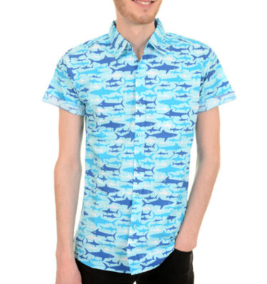 CAMISA RUN & FLY DE MANGA CORTA ESTAMPADO DE TIBURONES SHARK ATTACK