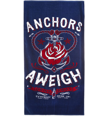 SOURPUSS ANCHORS AWEIGH BEACH TOWEL