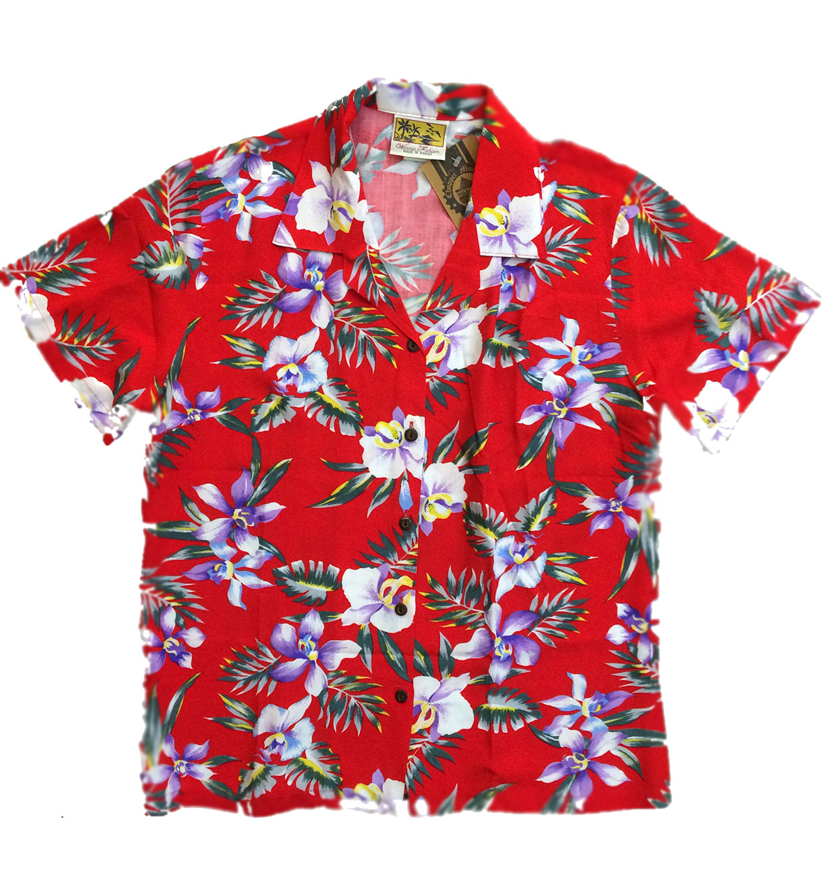 ef78bbf65 CAMISA HAWAIANA CHICA WINNIE FASHION ALOHA ORCHID RED
