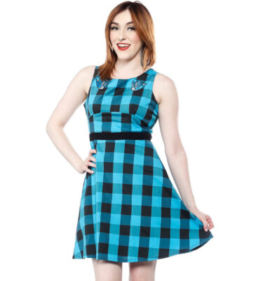 SOURPUSS SWALLOWS BUFFALO PLAID DRESS