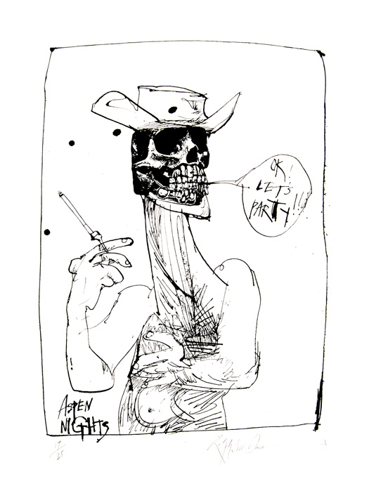 Hunter S. Thompson retratado como Sheriff por Ralph Steadman