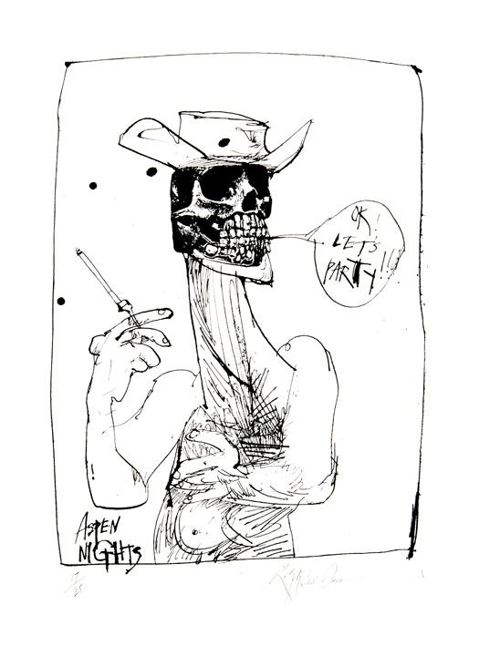Hunter S. Thompson retratado como Sheriff por Ralph Steadman