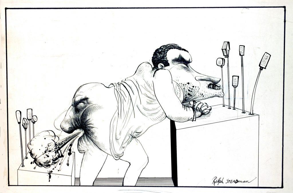 Dibujo de Ralph Steadman. Nixon podrido