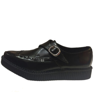 T.U.K. SHOES BLACK LEATHER BUCKLE POINTED CREEPERS