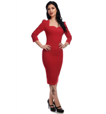 VESTIDO COLLECTIF MAINLINE VANESSA PENCIL RED