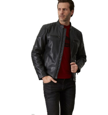 CAZADORA NORTON THROTTLE LEATHER JACKET NEGRA RIDER