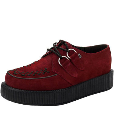 T.U.K SHOES BORDEAUX SUEDE WITH BLACK INTERLACE VIVA LOW SOLE CREEPER