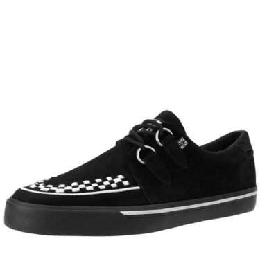 T.U.K SNEAKERS BLACK SUEDE WHITE INTERLACE VLK