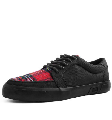 T.U.K SNEAKERS BLACK CANVAS & PLAID VLK RED TARTAN