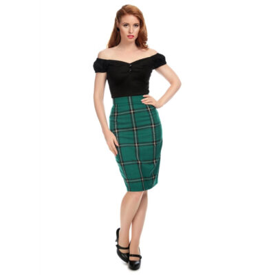 FALDA COLLECTIF VINTAGE POLLY EVERGREEN CHECK PENCIL SKIRT
