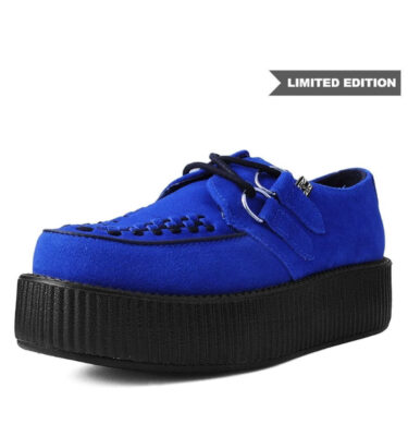 T.U.K BLUE SUEDE WITH BLACK INTERLACE VIVA MONDO CREEPER