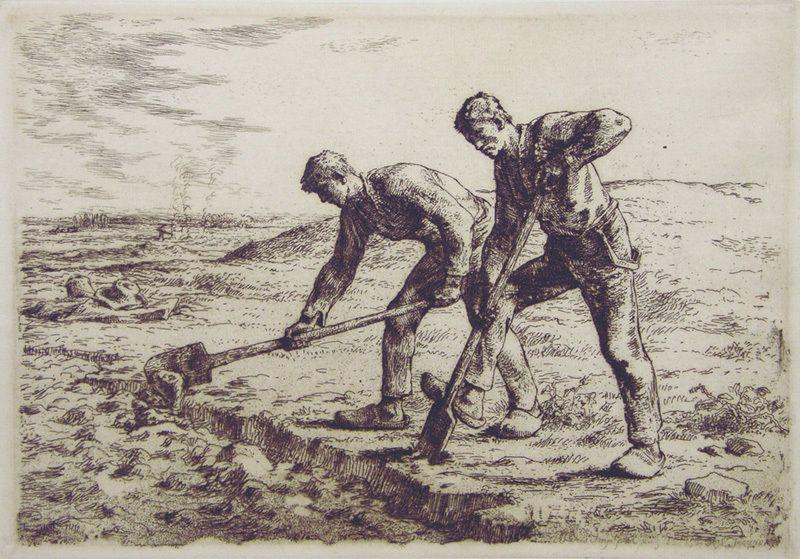 Ilustración de Los Diggers (escavadores) del siglo XVII