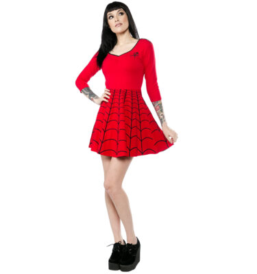 VESTIDO KREEPSVILLE 666 SPIDERWEB SKATER DRESS ROJO