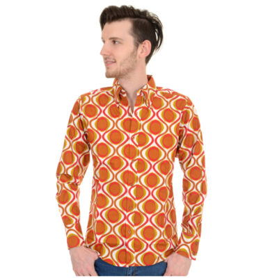 CAMISA RUN & FLY RETRO MOD GEOMETRIC PSYCHEDELIC PRINTED