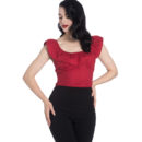 HELL BUNNY DARK RED COTTON RIO TOP