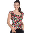 TOP HELL BUNNY STRAWBERRY & FLOWERS SUNDAE IN BLACK
