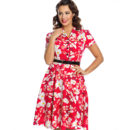 VESTIDO LINDY BOP LILITH RED DOGWOOD FLORAL PRINT TEA DRESS