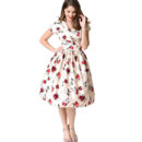 VESTIDO HELL BUNNY 1950s STYLE CREAM & RED FLORALS ROSEMARY