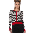 CARDIGAN DE PUNTO BLACK COFFEE CHEVRON IN BLACK & RED
