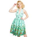 VESTIDO LINDY BOP MARILYN' GREEN JUNGLE BORDER PRINT HALTERNECK DRESS