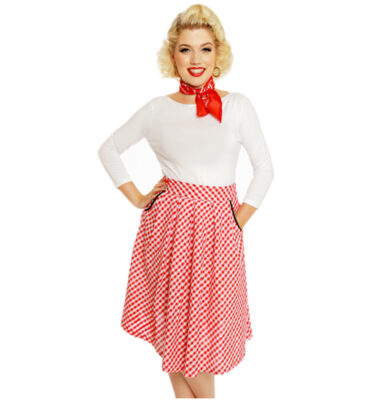 "FALDA LINDY BOP ""DANIELLA"" RED GINGHAM PRINT SWING SKIRT"