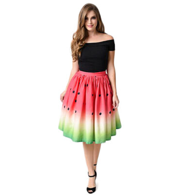FALDA UNIQUE VINTAGE 1950s HIGH WAIST WATERMELON CIRCLE SWING SKIRT