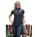 CAMISA WESTERN STARS & STRIPES ISABEL WHITE EMBROIDERED ON BLACK
