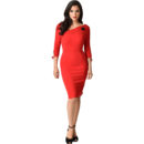 VESTIDO UNIQUE VINTAGE RED CARMEN HALF SLEEVE WIGGLE DRESS