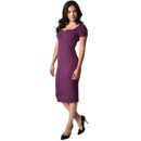 VESTIDO UNIQUE VINTAGE PURPLE SHORT SLEEVE HARRIS KNIT WIGGLE