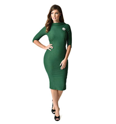 VESTIDO UNIQUE VINTAGE 60S LUCINDA WIGGLE DRESS IN EMERALD