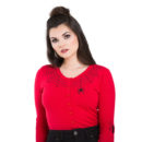 CARDIGAN HELL BUNNY SPIDER WEB RED
