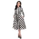 VESTIDO COLLECTIF MARA CHECKED SHIRT IN BLACK AND WHITE