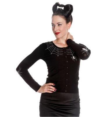 CARDIGAN HELL BUNNY SPIDER WEB BLACK