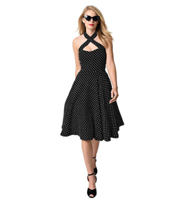 UNIQUE VINTAGE BLACK & IVORY DOT CRISS CROSS HALTER FLARE RITA DRESS