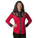 CAMISA ROCKMOUNT WOMAN'S RED & BLACK NASHVILLE ROSE WESTERN SHIRT