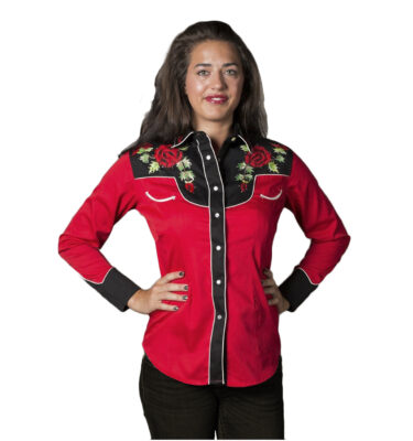 CAMISA ROCKMOUNT WOMAN'S RED & BLACK NASHVILLE ROSE WESTERN SHIRT