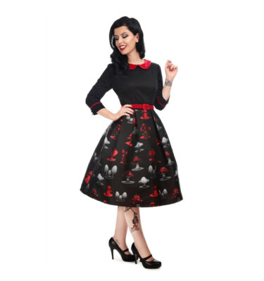 VESTIDO COLLECTIF VINTAGE ADA POISONED MUSHROOM SWING DRESS