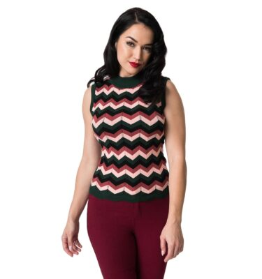 SWEATER BANNED GREEN & PINK CHEVRON ZADIA KNIT TOP