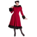 ABRIGO HELL BUNNY BURGUNDY ELVIRA COAT