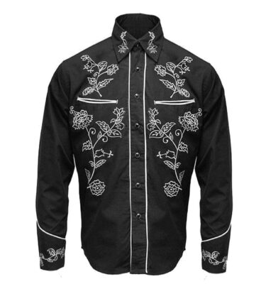CAMISA RELCO RED STAR RODEO BLACK WHITE WESTERN SHIRT 8145219afd9