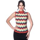 SWEATER BANNED TILE RED & YELLOW CHEVRON ZADIA KNIT TOP