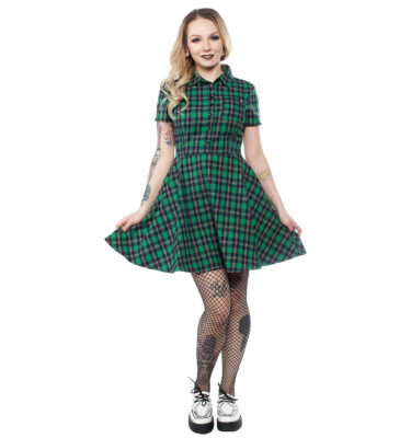 VESTIDO SOURPUSS PLAID BUTTON DOWN DRESS GREEN