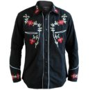 CAMISA RELCO RED STAR RODEO COWBOY WESTERN FLOWER SHIRT