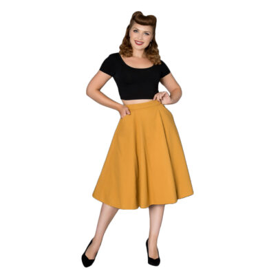 FALDA SHEEN ODETTE MUSTARD CIRCLE SKIRT